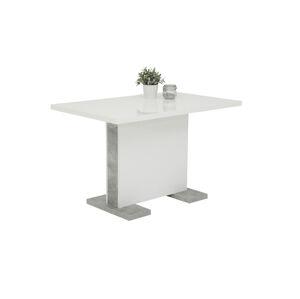 Sconto Jedálenský stôl TAMARA T biela vysoký lesk/betón
