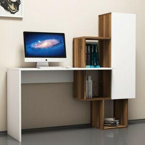 Sconto Písací stôl s regálom ACELYA biela/orech