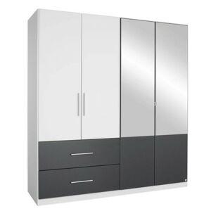 Sconto Šatníková skriňa AUBREE alpská biela/sivá, 4-dverová s 2 zrkadlami