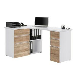 Sconto Rohový písací stôl BAKER biela/dub sonoma