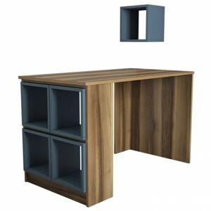 Sconto Písací stôl BOX orech/modrá