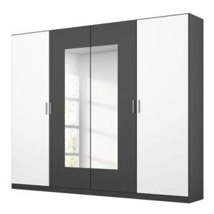 Sconto Šatníková skriňa BROOKE alpská biela/sivá, šírka 226 cm