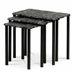Sconto Prístavné stolíky CARRARA čierna/dekor mramoru
