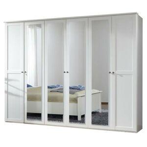 Sconto Šatníková skriňa CHASE biela, 270 cm, 4 zrkadlá