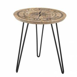 Sconto Prístavný stolík DIEPPE čierna/mangové drevo s potlačou