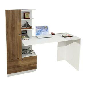Sconto Písací stôl s regálom DOMINGOS orech/biela