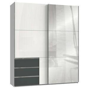 Sconto Šatníková skriňa ELIOT biela/grafit, šírka 200 cm, 1 zrkadlo