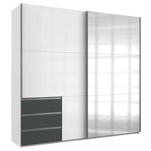 Sconto Šatníková skriňa ELIOT biela/grafit, šírka 250 cm, 1 zrkadlo