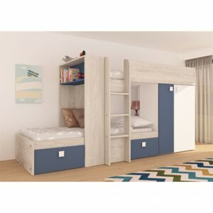 Sconto Poschodová posteľ EMMET III pínia cascina/modrá