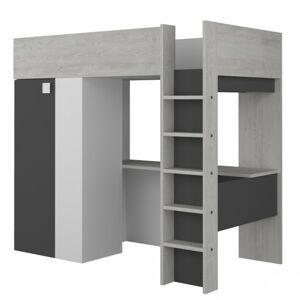 Sconto Poschodová posteľ so skriňou a stolo EMMET V pínia cascina/sivá