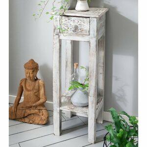 Sconto Prístavný stolík/stolík na kvety G&G biela patina