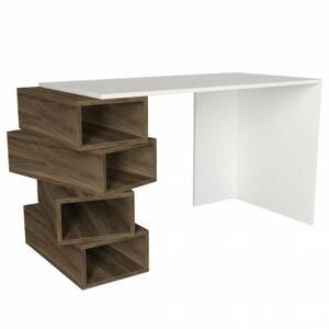 Sconto Písací stôl JENGA biela/orech