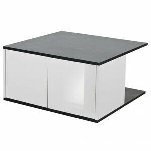 Sconto Konferenčný stolík KUBUS dub čierny/biela vysoký lesk