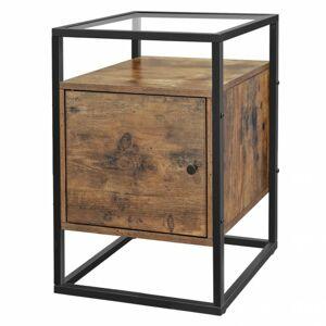 Sconto Prístavný stolík LOVISA čierna/hnedá