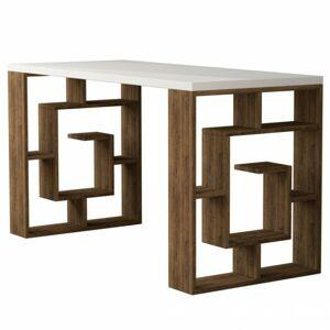 Sconto Písací stôl MAZE biela/tmavý dub