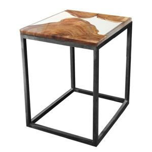 Sconto Odkladací stolík RESIN 40x40 cm, transparentná/sivá