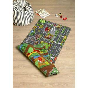 Sconto Detský obojstranný koberec SILNICE 3 100x165 cm, viacfarebná