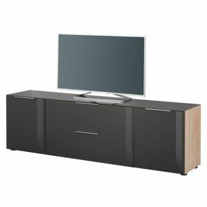 Sconto TV komoda TERRY III dub sonoma/antracitovej sklo, horná doska tvrdené sklo
