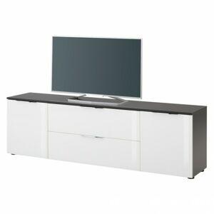 Sconto TV komoda TERRY VII antracitová/biele sklo