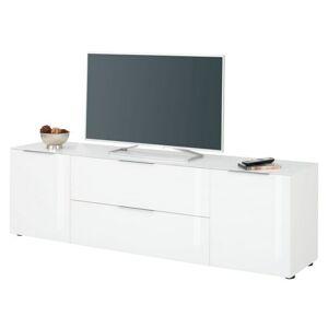 Sconto TV komoda TERRY biela matná/biele sklo