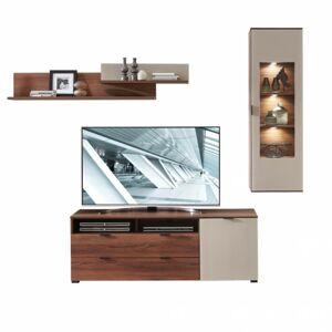 Sconto Obývacia stena ZENO II orech amber/satinované sklo farba čadič